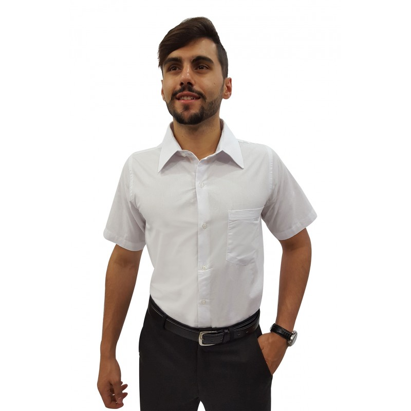 Camisa Social Masculina Manga Curta 100% Algodão 36d0a8633be