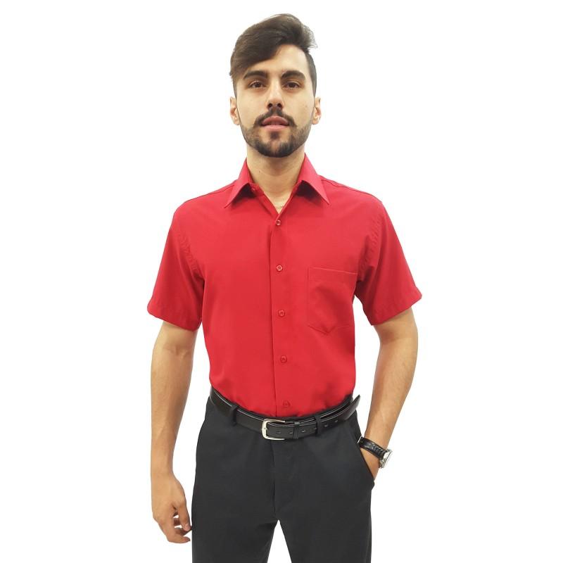Camisa Social Masculina Microfibra Manga Curta 9f0ba972b7570