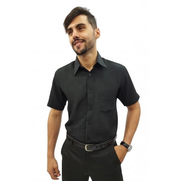 Camisa Social Masculina Manga Curta Crepe