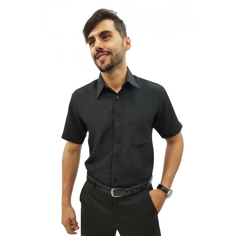bc9b2589f8 Camisa Social Masculina Manga Curta Crepe