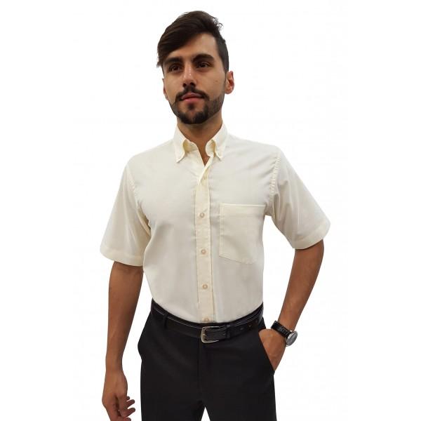 Camisa Social Masculina Manga Curta Panamá com Botão Externo na Gola