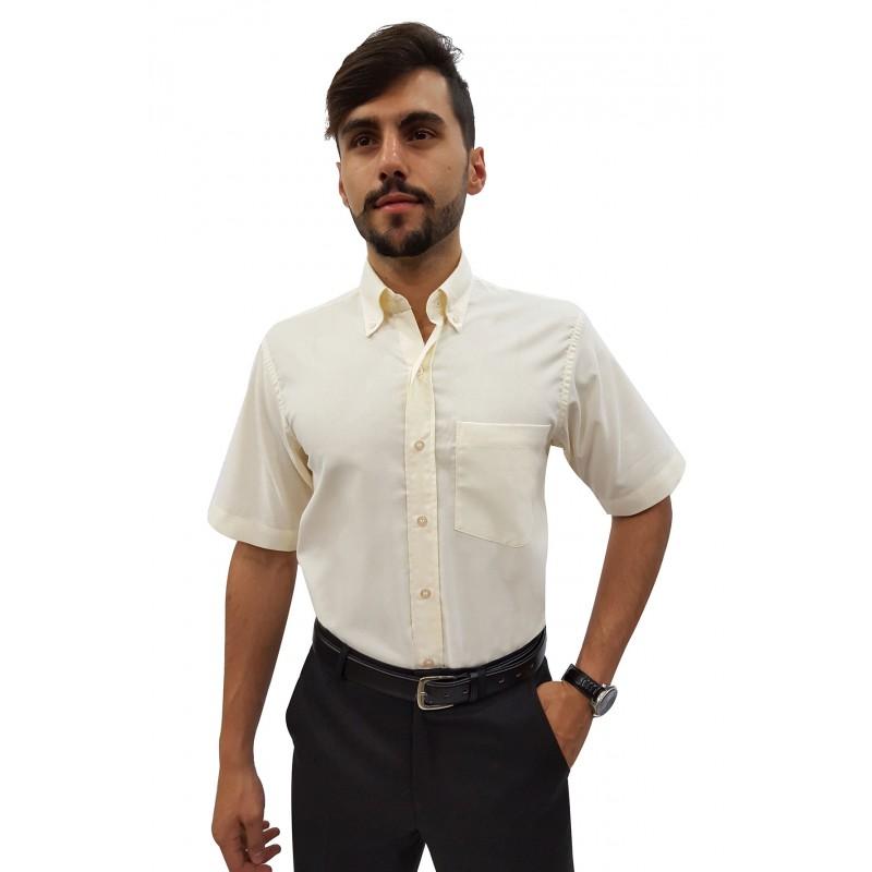 acb1d1884b Camisa Social Masculina Manga Curta Panamá com Botão Externo na Gola