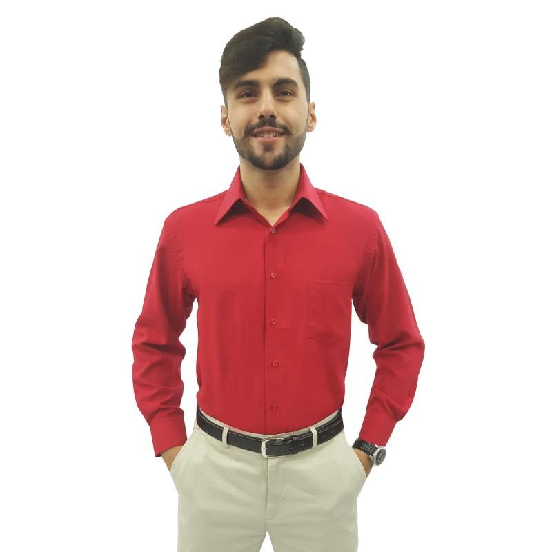 ca5465aca9 ... Cor  Vermelho Cor  Vermelho. Camisa Social Masculina Manga Longa 100%  Poliéster ...