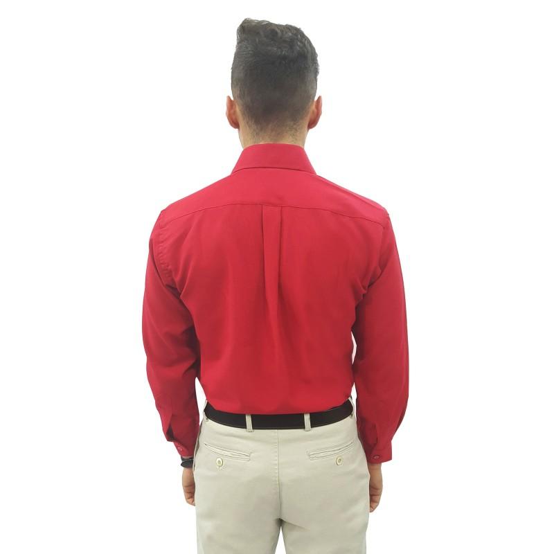 4a43c3e8ea ... Vermelho Cor  Vermelho. Camisa Social Masculina Manga Longa 100%  Poliéster ...