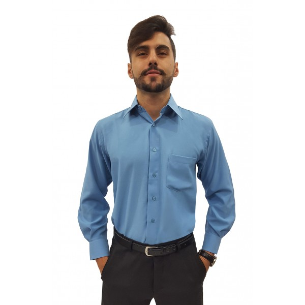 Camisa Social Masculina Manga Longa 100% Poliéster