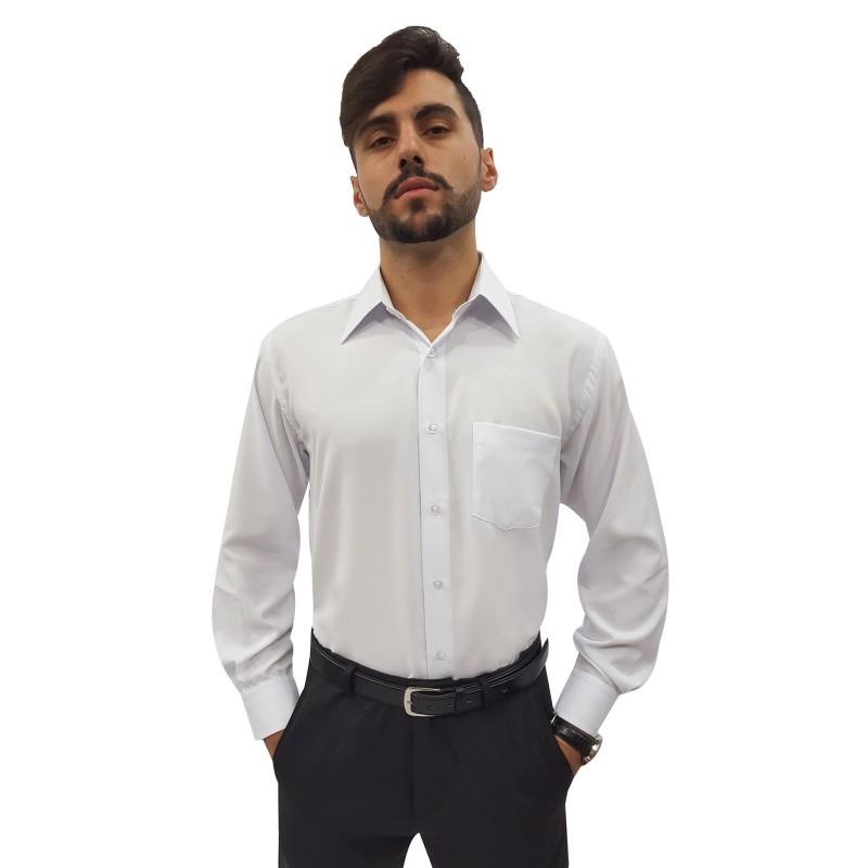 9ba361c51b Camisa Social Masculina Manga Longa 100% Poliéster Cor  Branca ...