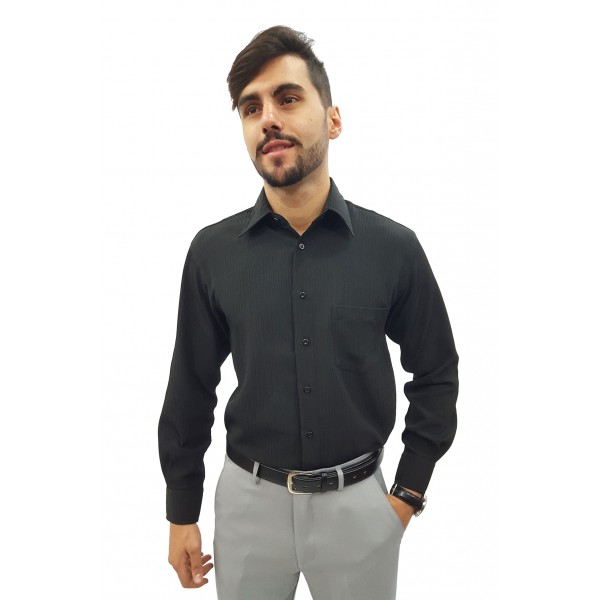 Camisa Social Masculina Manga Longa Crepe