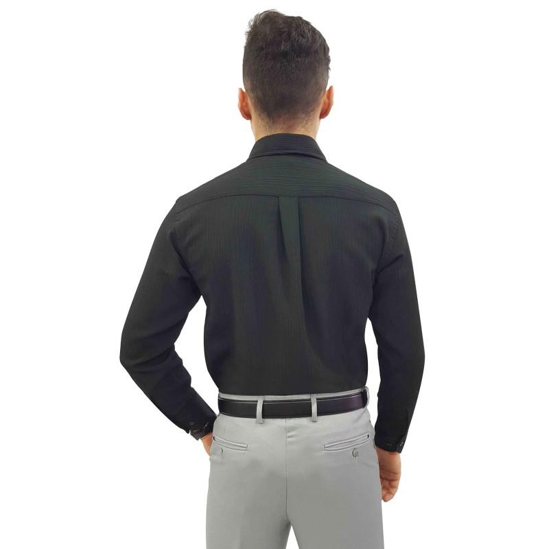 603fcb8415 Camisa Social Masculina Manga Longa Crepe Cor  Branca Cor  Branca Cor   Preto Cor  Preto ...