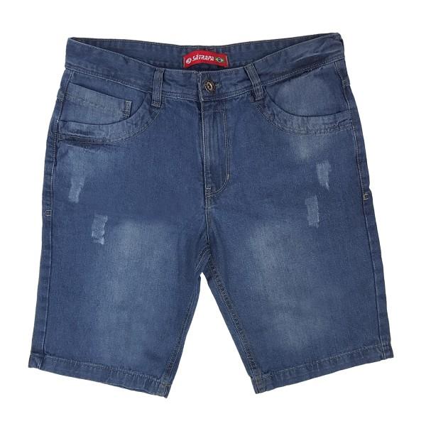 Bermuda Jeans Masculina Modinha Bolso Traseiro Recorte