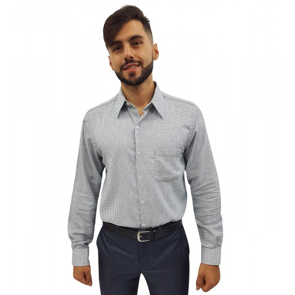 Camisa Social Masculina Estampada Bolinhas Manga Longa