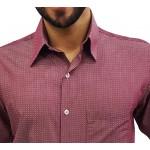 Camisa Social Masculina Estampada Vinho Manga Longa
