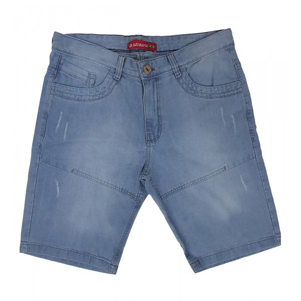 Bermuda Jeans Masculina Bolso Frontal Detalhado