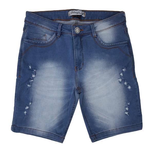 Bermuda Jeans Feminina Cintura Alta Upass Moletom