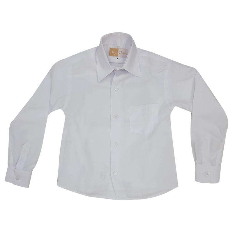 4474b564b Camisa Social Infantil Manga Longa Cor  Branca Cor  Branca ...