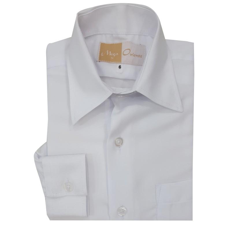 5d5761839 Camisa Social Infantil Manga Longa Cor  Branca ...