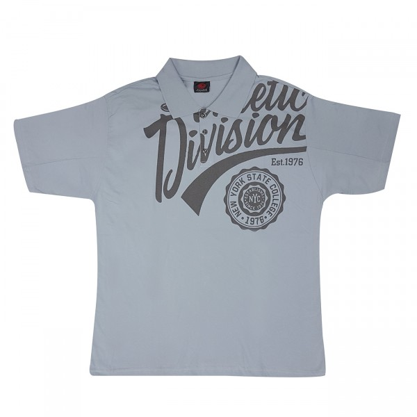 Camiseta Masculina Manga Curta Gola Polo Estampa Frente Plus Size